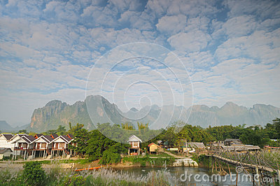 Morning at Vang Vieng, Laos.