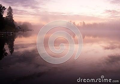 Morning water fog sky