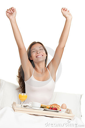 Free Morning Woman In Bed With Breakfast Stock Image - 15722871