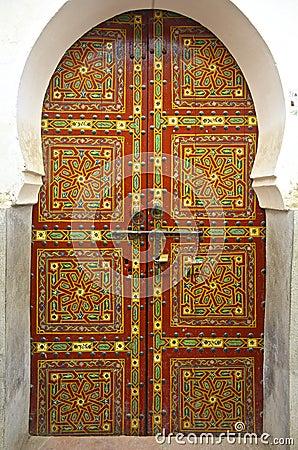 Free Moroccan Cedar Wood Painted Door Royalty Free Stock Image - 32653116