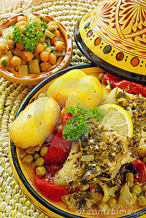 Free Moroccan Chermoula Fish Tajine Royalty Free Stock Photography - 19060847