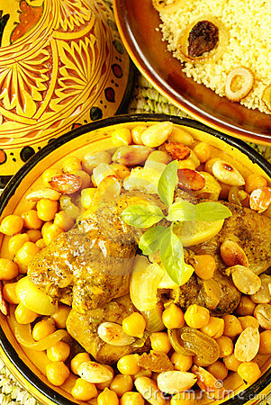 Moroccan chicken with chickpeas and lemons