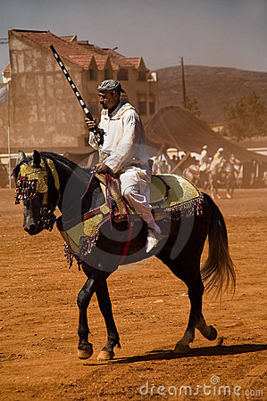 Moroccan horseman with gun Editorial Photo