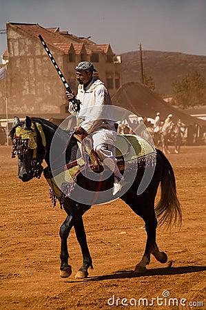 Moroccan horseman with gun Editorial Photo