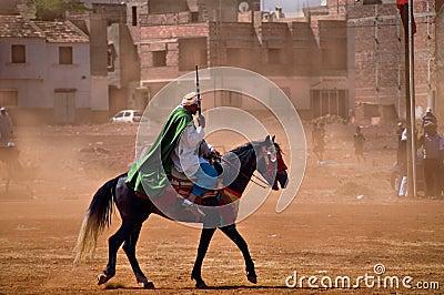 Moroccan horseman with gun Editorial Image