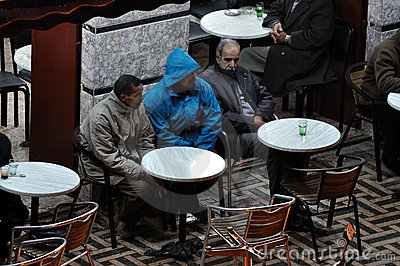 Moroccan men in cafe, Marrakech Editorial Stock Image