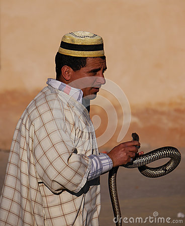 Free Moroccan Snake Charmer In Hat With Snake Stock Photography - 39059342
