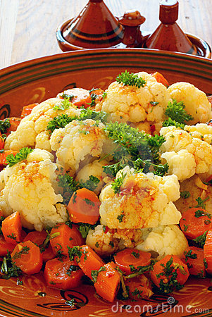 Moroccan style cauliflower and carrots