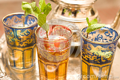 Moroccan Tea cups on silver plate