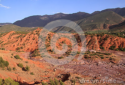 Morocco Atlas mountains and dry river bed