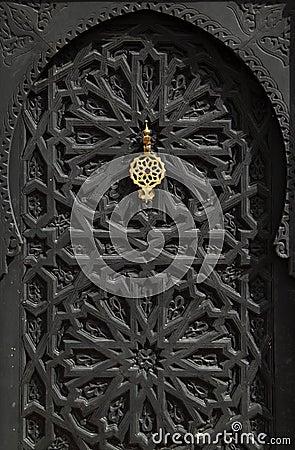 Morocco Marrakesh typical old black arabesque door
