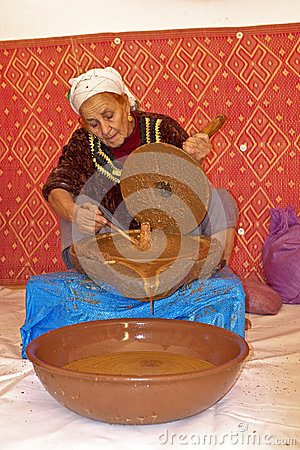 MOROCCO, OURIKA VALLEY - OCTOBER 24: Woman works in a cooperativ Editorial Image