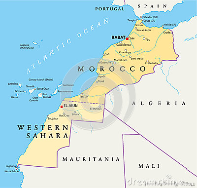 Morocco Western Sahara Map Hand Drawn Capitals Rabat El Aiun National Borders Most Important Cities on united states map of capitals