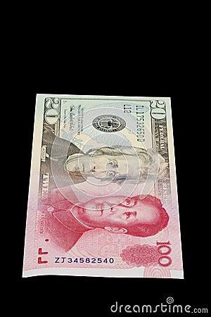 Morphed rmb USA för porslin dollar