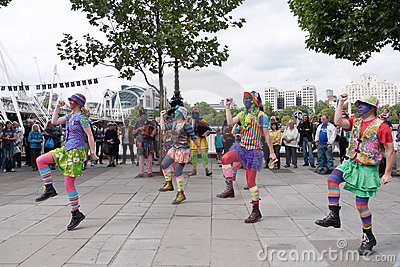 Morris Dancers perform at the Southbank Editorial Stock Image
