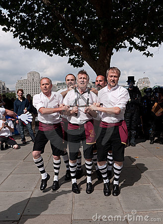 Morris Dancers perform at the Southbank Editorial Stock Photo