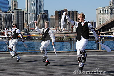 Morris Dancers Performing by the East River Editorial Stock Image