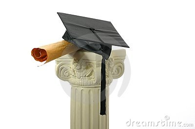 Mortar board and diploma on pedestal II