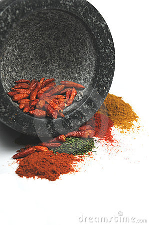 Mortar with crushed spices