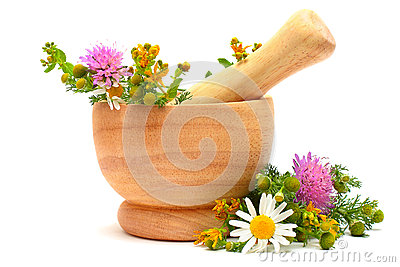 Mortar, medicine herbs and flowers