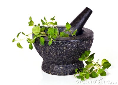 Mortar with oregano