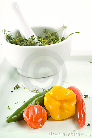 Free Mortar, Pestle, Herbs And Peppers Royalty Free Stock Photos - 7645638