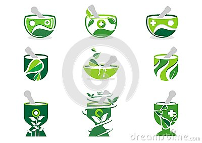 Mortar and pestle logo, pharmacy logos, medicine herbal nature illustration set of symbol icon vector design Vector Illustration
