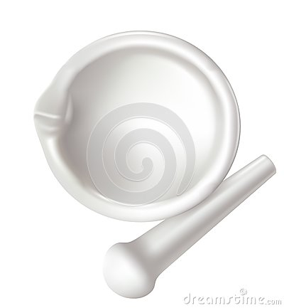 Mortar and pestle on white background.