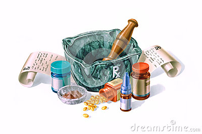 Mortar surrounded by drugs, medicines and prescriptions.