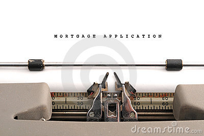 Mortgage Application typed on old typewriter