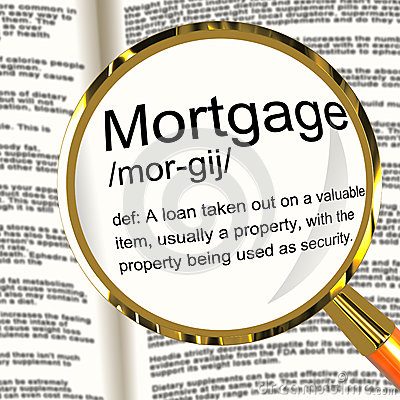 Mortgage Definition Magnifier Showing Property Or Real Estate Lo Stock Photo