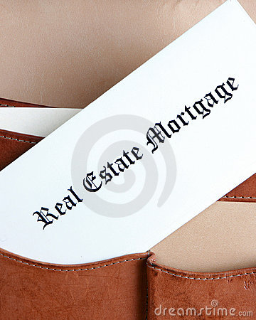 Mortgage documents in a briefcase-vertical