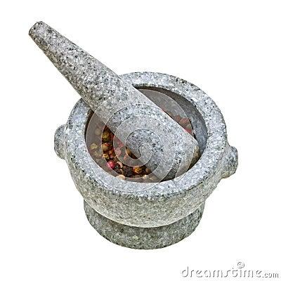 mortier et pilon en pierre avec le poivre cras photo. Black Bedroom Furniture Sets. Home Design Ideas