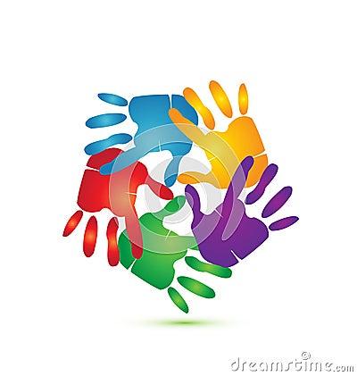 Mãos em torno do logotipo