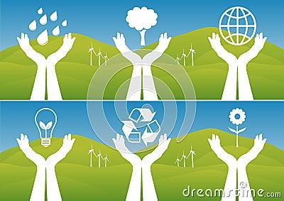 Mãos que sustentam símbolos ecológicos