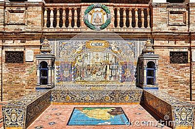 Mosaic of Cadiz in Spain Square in Seville