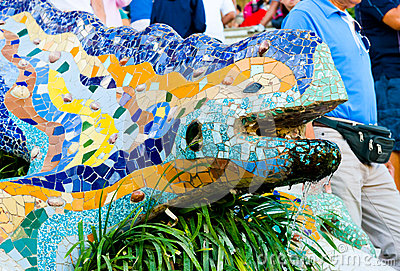 The mosaic dragon in Barcelona at park Guell