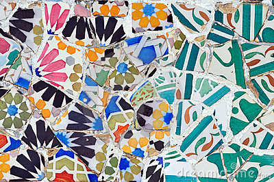 Mosaic in Guell park in Barcelona