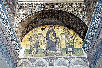 Mosaic of Jesus Christ in church of Hagia Sofia