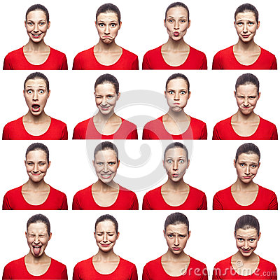 Free Mosaic Of Woman With Freckles Expressing Different Emotions Expressions. The Woman With Red T-shirt With 16 Different Emotions. Is Stock Photos - 83435243