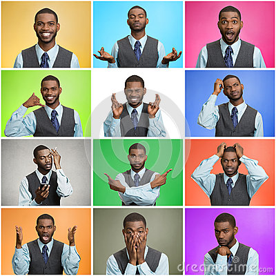 Free Mosaic Of Young Man Expressing Different Emotions Royalty Free Stock Image - 48035936