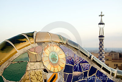 Mosaic in Park Guell, designed by Antoni Gaudi