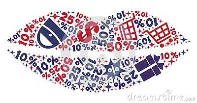 Shopping Composition of Mosaic Smile Lips Icon Vector Illustration