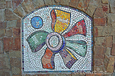Mosaic on Stone Wall