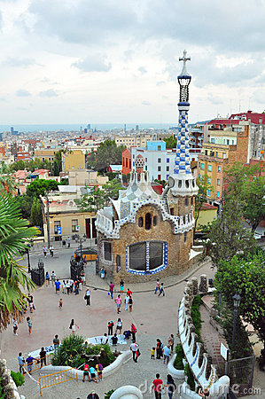 Mosaic tower in Park Guell, Barcelona, Spain Editorial Stock Image