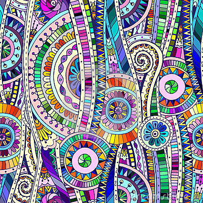 Free Mosaic Tribal Doddle Ethnic Seamless Pattern. Royalty Free Stock Photography - 46607237