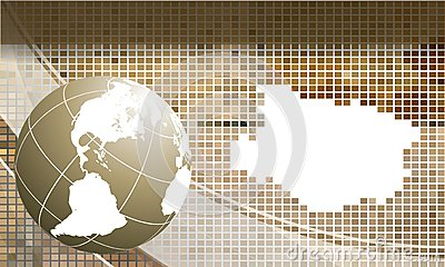 Mosaic vector frame with globe. Eps10