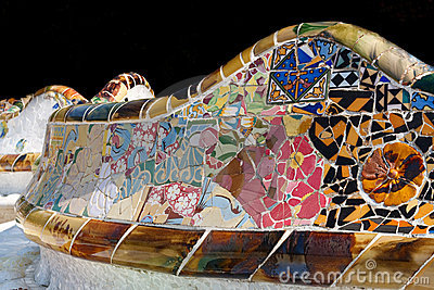 Mosaic work by Gaudi at Park Gell, Barcelona