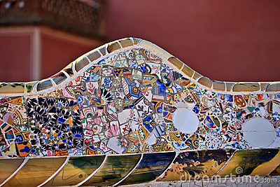 Mosaic work by Gaudi at Park Guell