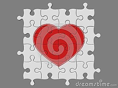 Mosaico completato dai puzzle con il simbolo di cuore - Collegamento stampabile un puzzle pix ...